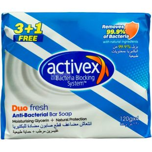 Activex Duo Fresh, 4х120 г, Мыло антибактериальное