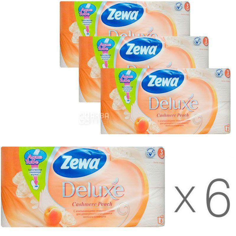 Zewa Deluxe Cashmere Peach, Упаковка 6 шт. по 8 рул., Туалетная бумага Зева Делюкс, Персик, 3-х слойная