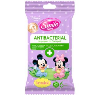 Smile, 24 pcs. Wet wipes Antibacterial, with valve