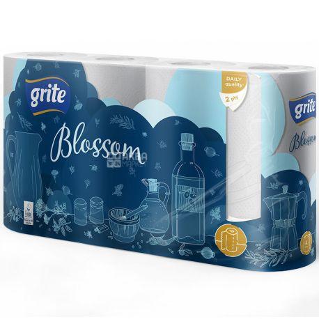 Grite, Blossom, 4 рул., Полотенца бумажные Грите Блоссом, 2-х слойные, 15 м, 85 отрывов, 22х18 см