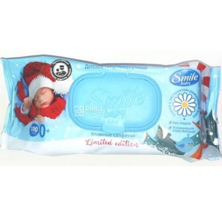 Smile Baby, 100 шт., Салфетки влажные Смайл, Детские, Ромашка и алоэ, для ухода за кожей