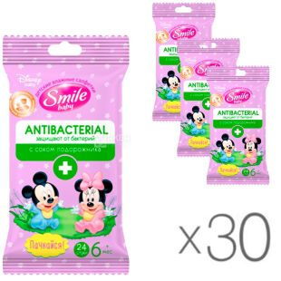 Smile, 30 packs of 24 pcs each, Wet wipes Antibacterial, with plantain juice