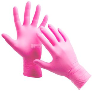 More Goods, 100 PCs., non-sterile gloves, nitrile, without powder, size S, pink