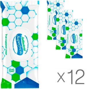 Super Fresh, 12 packs of 72 pcs., Wet wipes, Antibacterial