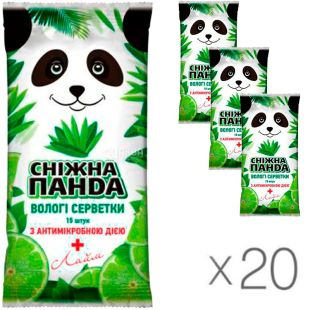 Snow Panda, 20 packs of 15 each, Wet wipes for hands, antimicrobial, Lime