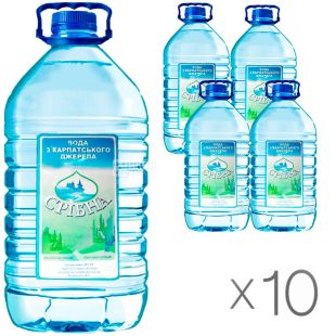 Sribna, 6 L, Pack of 10 pcs., Mineral non-carbonated drinking water, PET