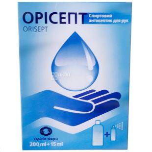 Орісепт, Набір спрей 15 мл + запаска 200 мл, Спиртовий антисептик для рук, 75% спирту