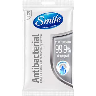 Smile, Antibacterial, 15 шт., Салфетки влажные, в ассортименте