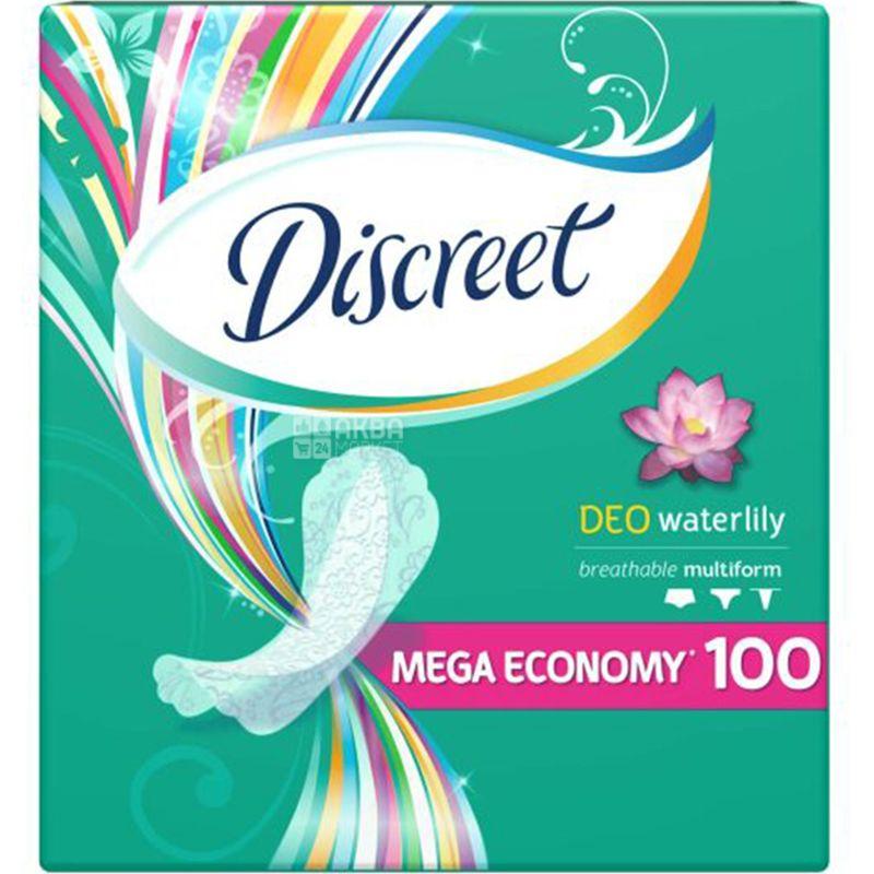 Discreet, Deo Water Lily 100 шт., Прокладки ежедневные, ароматизированные