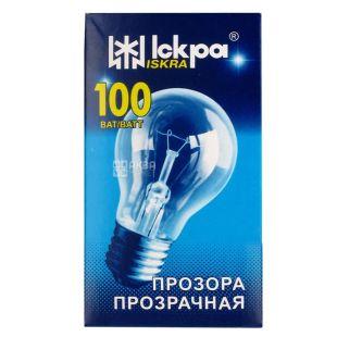 Іскра, 100 Вт, лампа, Прозрачная, м/у
