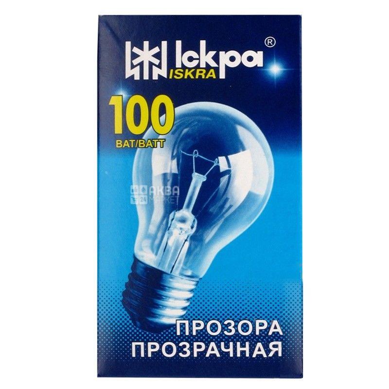 Іскра, 100 Вт, лампа, Прозора, м/у