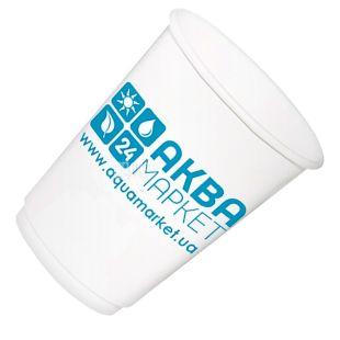 АкваМаркет, 50 шт., 110 мл, стакан бумажный, Белый, С логотипом, м/у