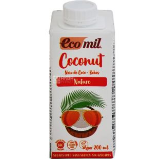 Ecomil, Coconut, 200 мл, Рослинний напій Кокос, без цукру