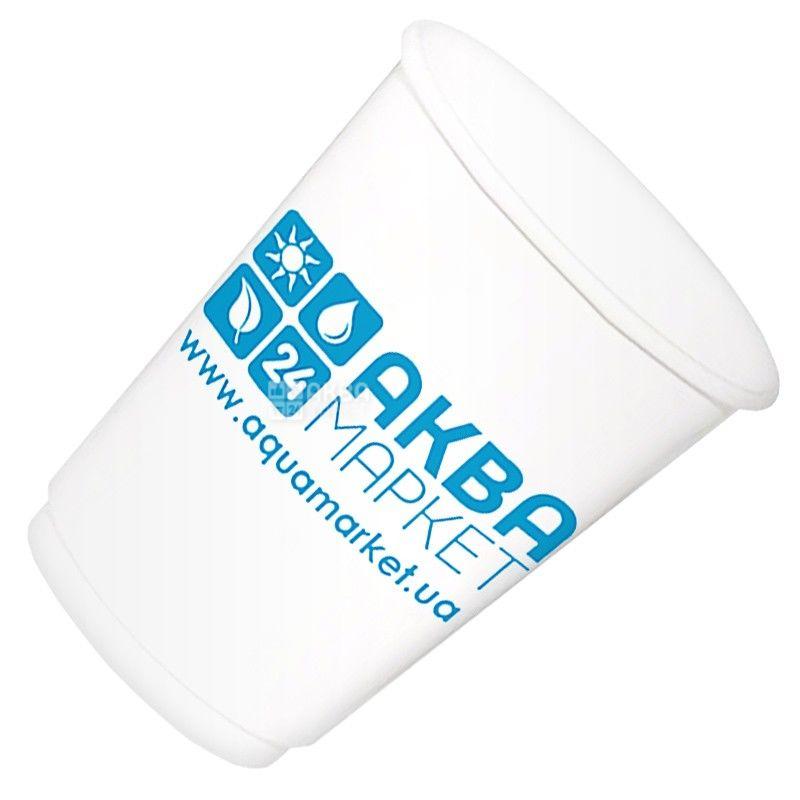 АкваМаркет, 50 шт., 180 мл, стакан паперовий, Білий, З логотипом, м/у