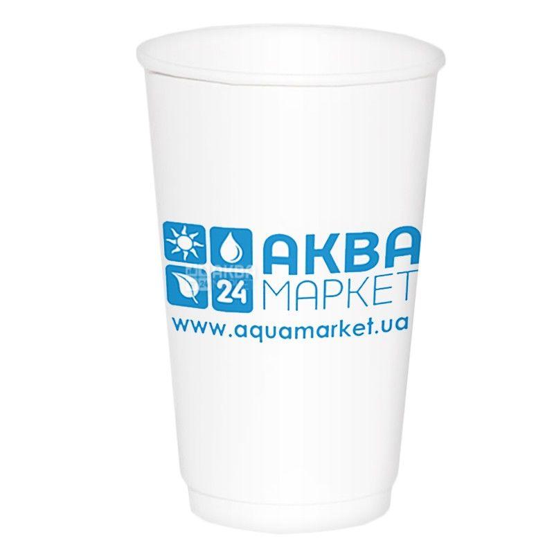АкваМаркет, 50 шт., 250 мл, стакан бумажный, Белый, С логотипом, м/у