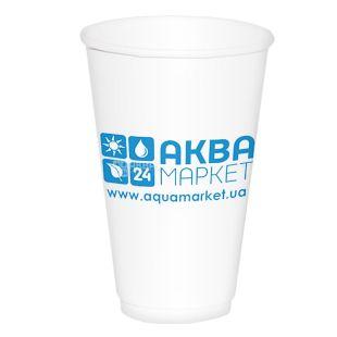 АкваМаркет, 50 шт., 400 мл, стакан бумажный, Белый, С логотипом, м/у