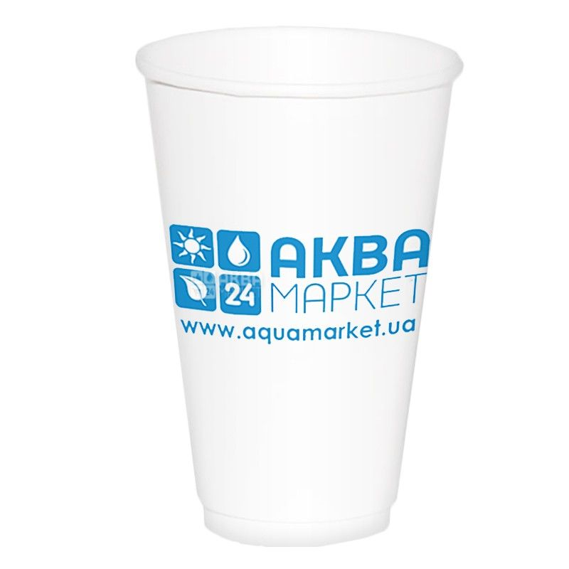 АкваМаркет, 50 шт., 400 мл, стакан паперовий, Білий, З логотипом, м/у