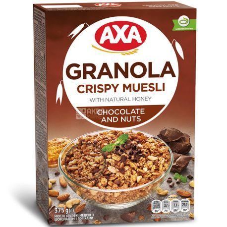 AXA, 375 г, Мюсли медовые, с шоколадом и орехами, сухой завтрак, быстрого приготовления