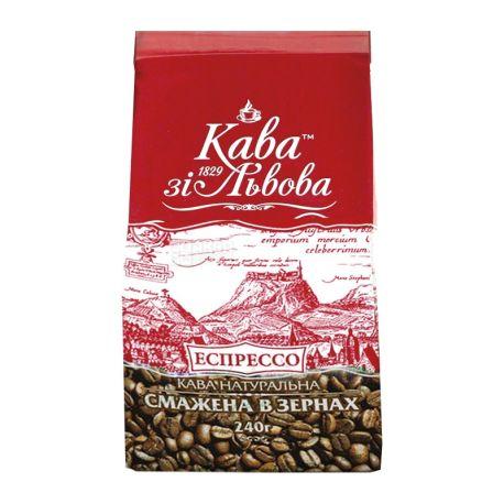 Кава зі Львова, Эспрессо, 240 г, Кофе средней обжарки, в зернах