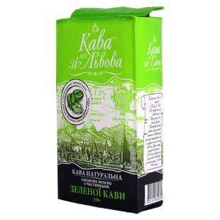 Кава зі Львова, З частинками зеленої кави, 240 г, Кава середньо-темного обсмаження, мелена