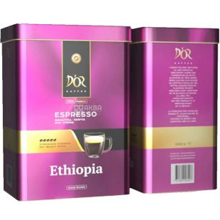 D'OR, Espresso Ethiopia, 1 кг, Кофе Эспрессо Эфиопия, зерновой, ж/б