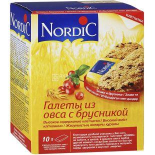 Nordic, 10 шт. х 30 г, Галеты овсяные с брусникой