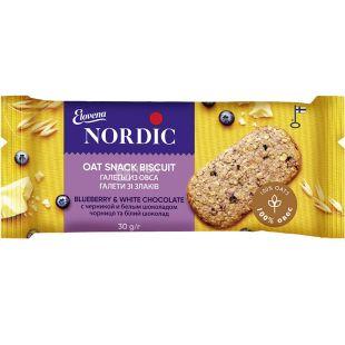 Nordic, 30 г, Галета овсяная с черникой и белым шоколадом
