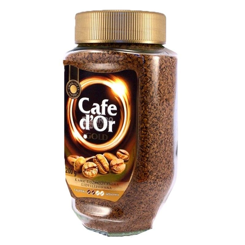 Cafe d'Or Gold, 200 г, Кафе д'Ор Голд, кава розчинна, скло