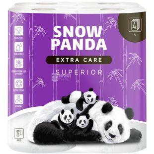 Снежная панда, Extra Care, Superior, 8 рулонов, Туалетная бумага, белая, 4-х слойная