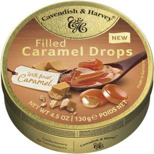 Cavendish & Harvey, Caramel drops, 130 г, Леденцы Кавендиш, со вкусом карамели