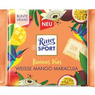 Ritter Sport, 100 г, Белый шоколад с начинкой манго-маракуйя