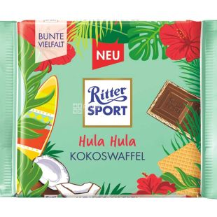 Ritter Sport, 100 г, Молочный шоколад с начинкой кокос-вафля