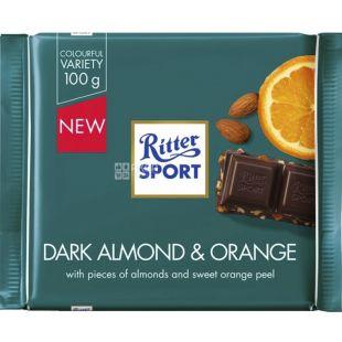 Ritter Sport, 100 г, Темный шоколад с миндалем и апельсином