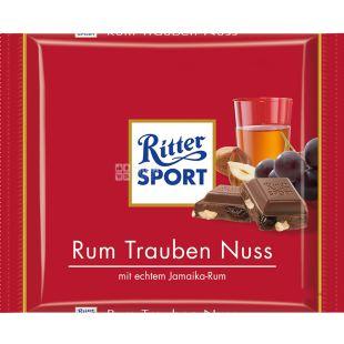 Ritter Sport, 100 г, Молочный шоколад с ромом, изюмом и орехами