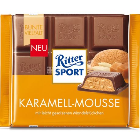 Buy Ritter Sport 100 G Milk Chocolate Caramel Mousse With Delivery Price And Review In Aquamarket Price Delivery Buy Order In Kiev Kharkov Odessa Chernihiv Beila Tserkva Slavutych Overview Description Sale