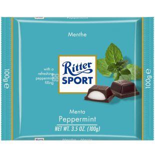 Ritter Sport, 100 г, Черный шоколад с мятной начинкой
