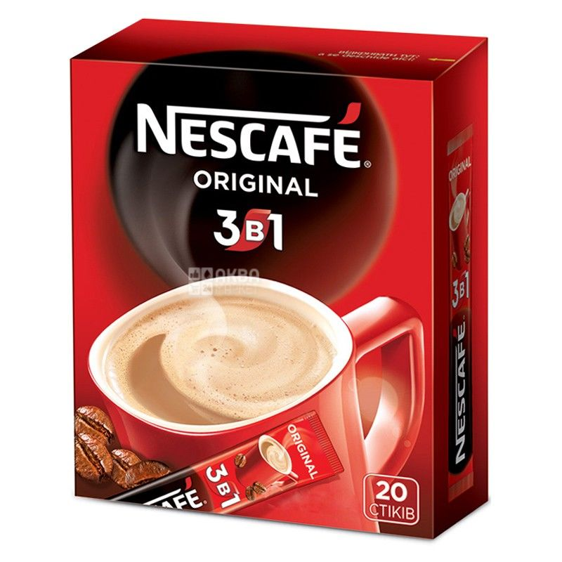 Nescafe Original, 3 в 1, Кофе растворимый в стиках, 344 г (упаковка 20 шт.)