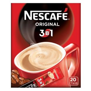 Nescafe Original 3 в 1, 20 шт., 344 г, Кава Нескафе Оріджінал, розчинний, в стіках