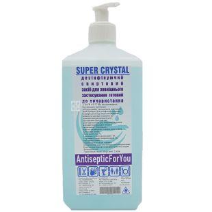 Super crystal, 1 л, Антисептик для рук и поверхностей, с дозатором, 75% спирта