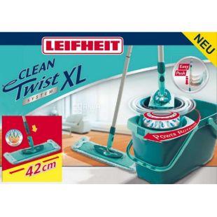 Leifheit, Clean Twist System XL, 42 см, Набор для уборки, Швабра с губкой + универсальное ведро + механизм отжима