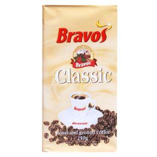 Bravos Classic, 250 г, Кофе Бравос, 100% Робуста, средней обжарки, молотый