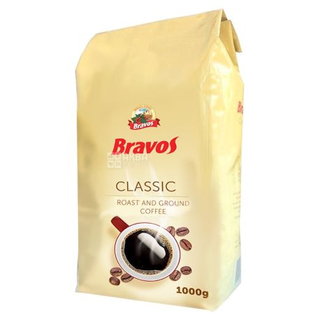 Bravos Classic, 1 кг, Кофе Бравос, 100% Робуста, средней обжарки, молотый