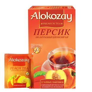 Alokozay, 25 pcs., Black tea, with peach