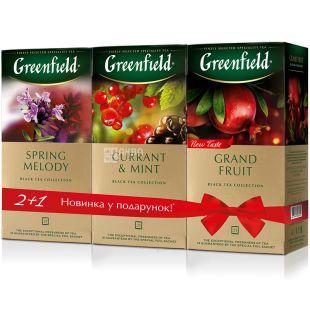 Greenfield, 3 шт.  х 25 пак., Набір чаю Грінфілд, Grand Fruit + Spring Melody + Currant & Mint