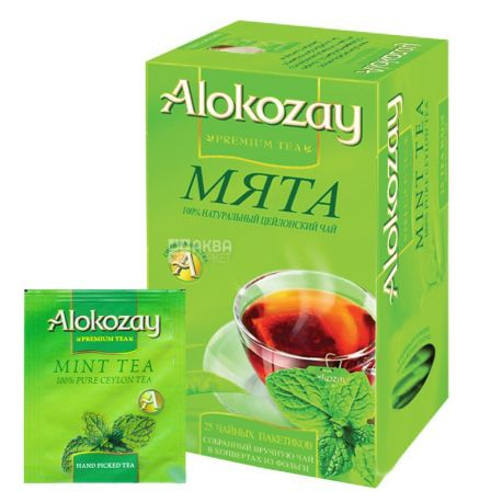 Alokozay, 25 пак, Чай чорний Алокозай, з м'ятою