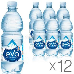 Acqua Eva, 0,5 л, Упаковка 12 шт., Аква Ева, Вода гірська, негазована, ПЕТ