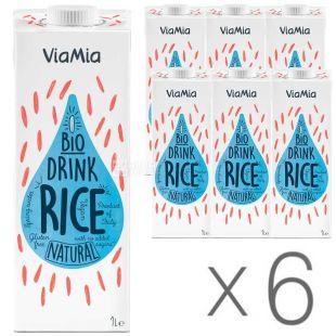 ViaMia, Bio Drink, Rice, 1 л, Упаковка 6 шт., ВіаМіа, Напій рисовий органічний, без цукру і глютену