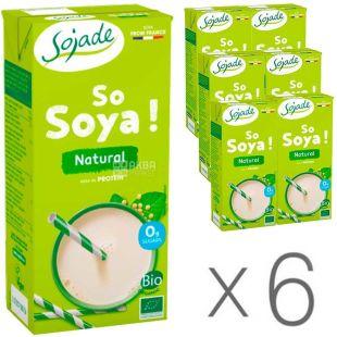 Sojade Soya Natural Organic, 1 L, Pack of 6, Soyade, Soymilk, Organic, Sugar Free, Salt and Lactose Free