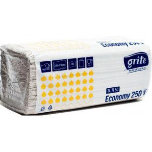 Grite, Economy, 250 аркушів, Рушники паперові, одношарові, ZZ складання, 250 х 230 мм