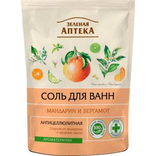 Зелена аптека, 500 г, Сіль для ванн, Мандарин і бергамот